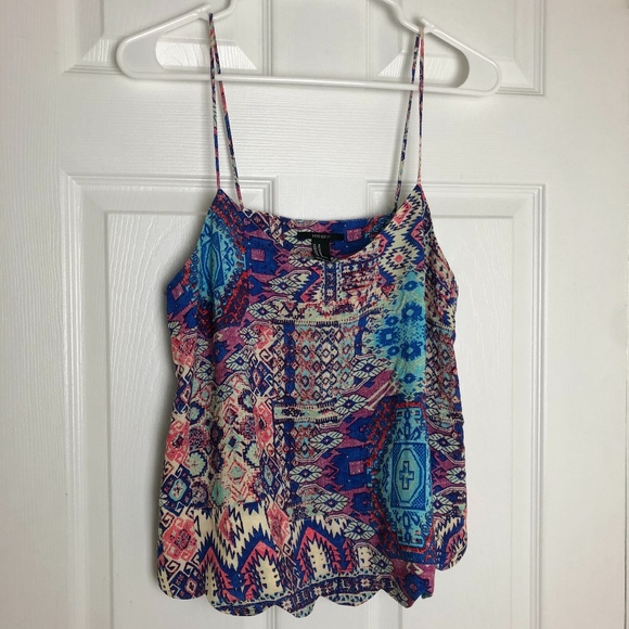 Forever 21 Multicolored Scallop Crop Tank Top